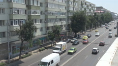 Car traffic in city, aerial view moving vehicles lanes crowded with cars drivers Stock Footage