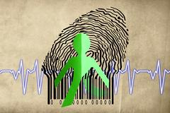 Stock Illustration of paperman coming out of a bar code with cardiogram