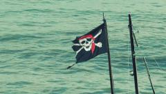 Pirate Flag Blows Around In Wind Stock Footage