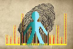 Paperman coming out of a bar code with business graph Stock Illustration