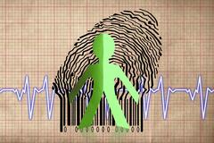 Paperman coming out of a bar code with cardiogram Stock Illustration