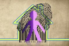 Stock Illustration of paperman coming out of a bar code with home symbol