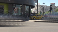 Time lapse cars moving in the city, pedestrians crossing street at green color Stock Footage