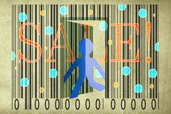 paperman coming out of a bar code with sale word - stock illustration
