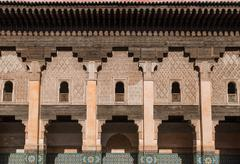 The marble craft of building at medersa ben youssef in marrakesh Stock Photos