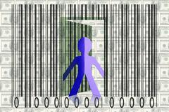 paperman coming out of a bar code with dollars as backround - stock illustration