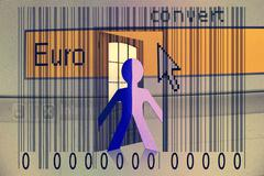 Paperman coming out of a bar code with euro word Stock Illustration