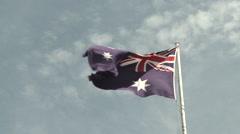 Australian flag on a clear sky - stock footage