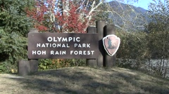 Land Use Olympic National Park Fall Sign Hoh Rain Forest Stock Footage