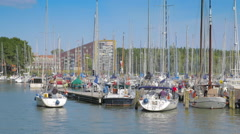 View on the harbor in Hoorn, Netherlands Stock Footage