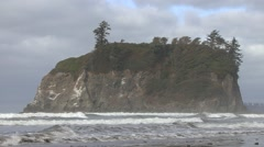 Ocean Olympic National Park Fall Pacific Northwest Rock Stock Footage