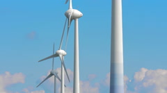 Wind power turbines rotating against blue sky Stock Footage