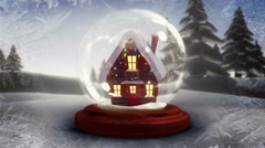 Cute christmas house inside snow globe Stock Footage