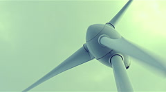 Close up on wind power turbine rotating Stock Footage