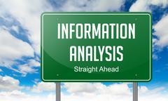 Information Analysis on Highway Signpost. - stock illustration