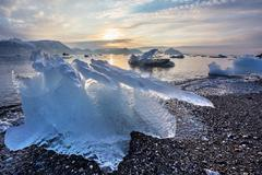 Ice on the Arctic beach - Svalbard Stock Photos