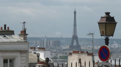 Paris Skyline with Eiffel Tower dominant Stock Footage