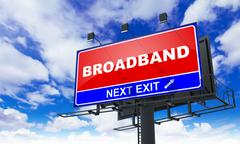 Broadband Inscription on Red Billboard. - stock illustration