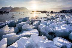 Arctic fjord landscape - ice on the shore - Spitsbergen Stock Photos