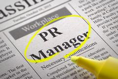 PR Manager Vacancy in Newspaper. Stock Illustration