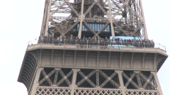 Crowds on the mid-level of the Eiffel Tower Stock Footage