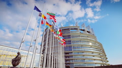 European Parliament building in Strasbourg Stock Footage