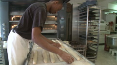 Making Baguettes in French Patisserie Stock Footage