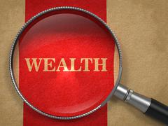 Stock Illustration of Wealth - Magnifying Glass on Old Paper.