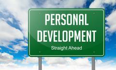 Personal Development on Highway Signpost. - stock illustration
