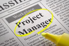 Project Manager Jobs in Newspaper. Stock Illustration