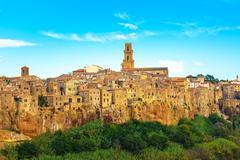 tuscany, pitigliano medieval village panorama landscape. italy - stock photo