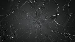 destructed or broken glass on white - stock photo