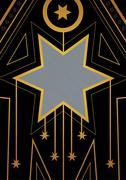 Art Deco Christmas Star Border - stock illustration