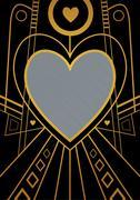 Art Deco Heart Border Stock Illustration