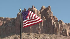 Land Use Capital Reef National Park Summer American Flag Slow Motion Stock Footage