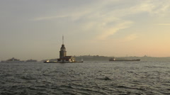 Maiden Tower and marine traffic at sunset, Istanbul Stock Footage