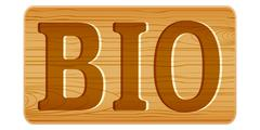 Nameplate of wood for menu with word BIO. - stock illustration
