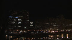 Chicago at Night Pan Over River - stock footage
