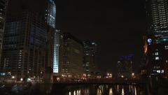 Chicago Downtown at Night Tilt Down - stock footage