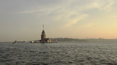 Time lapse of Maiden Tower at Istanbul Stock Footage