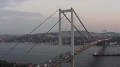 Bosporus Bridge and Carrier Ship Aerial View Stock Footage