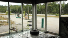 Abandoned gas station. Interior. Stock Footage