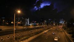 Tel Aviv at night . lightnings sparkle  . road traffic Stock Footage