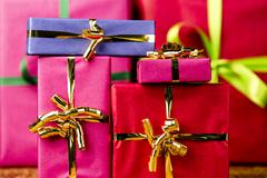 six plain gifts wrapped for any occasion. - stock photo