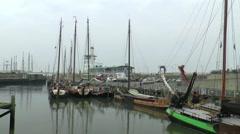 Traffic in the Oude Buitenhaven van Harlingen Stock Footage