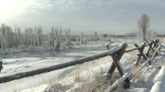 River & Stream Grand Teton National Park Winter Split Rail Fence Stock Footage