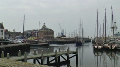 Ships of the Brown Fleet are entering the Oude Buitenhaven Stock Footage