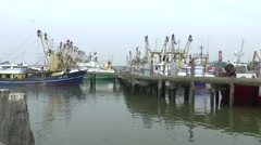Fishing vessels situated in the fishing port Stock Footage