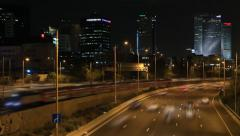 Israel at night. traffic road . Ayalon Highway (it is accelerated) Stock Footage