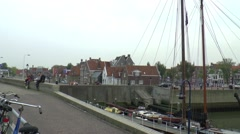 Panorama in the Oude buitenhaven harbour of Harlingen Stock Footage